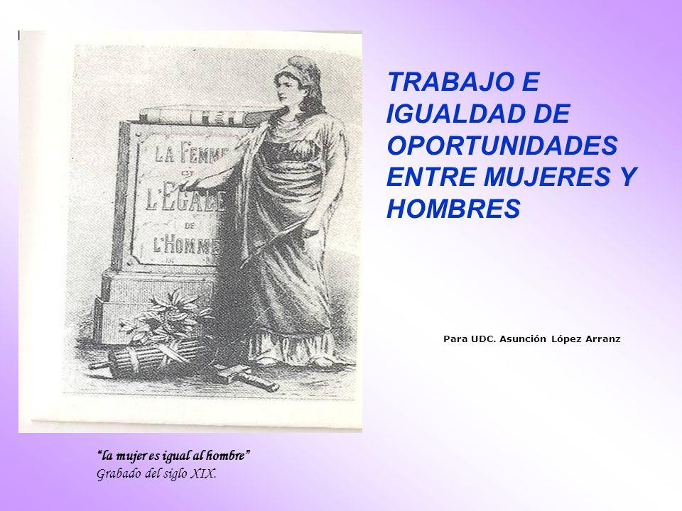 Para UDC. Asunción López Arranz TRABAJO E IGUALDAD DE OPORTUNIDADES ENTRE MUJERES Y HOMBRES la mujer es igual al hombre Grabado del siglo XIX.