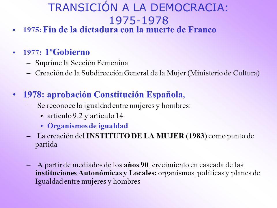 TRANSICIÓN A LA DEMOCRACIA: 1975-1978 1975: Fin de la dictadura con la muerte de Franco 1977: 1ºGobierno –Suprime la Sección Femenina –Creación de la