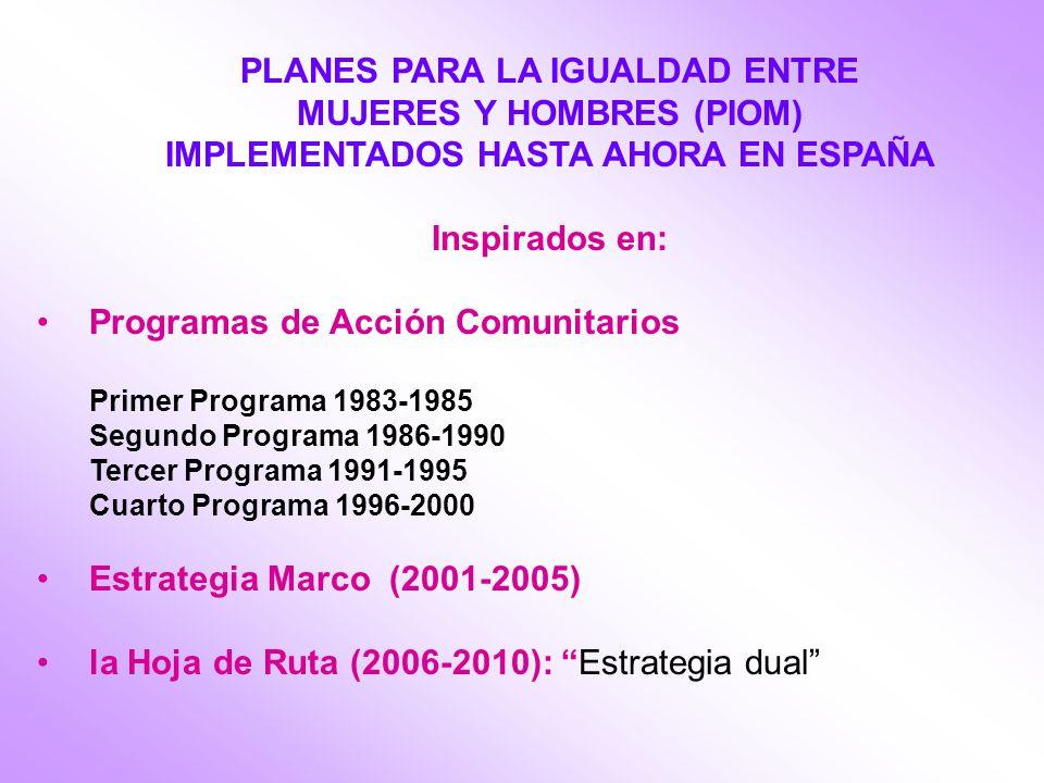 PLANES PARA LA IGUALDAD ENTRE MUJERES Y HOMBRES (PIOM) IMPLEMENTADOS HASTA AHORA EN ESPAÑA Inspirados en: Programas de Acción Comunitarios Primer Programa 1983-1985 Segundo Programa 1986-1990 Tercer Programa 1991-1995 Cuarto Programa 1996-2000 Estrategia Marco (2001-2005) la Hoja de Ruta (2006-2010): Estrategia dual