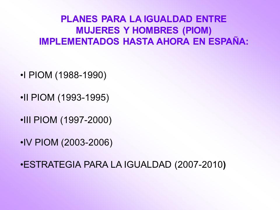 PLANES PARA LA IGUALDAD ENTRE MUJERES Y HOMBRES (PIOM) IMPLEMENTADOS HASTA AHORA EN ESPAÑA: I PIOM (1988-1990) II PIOM (1993-1995) III PIOM (1997-2000) IV PIOM (2003-2006) ESTRATEGIA PARA LA IGUALDAD (2007-2010)