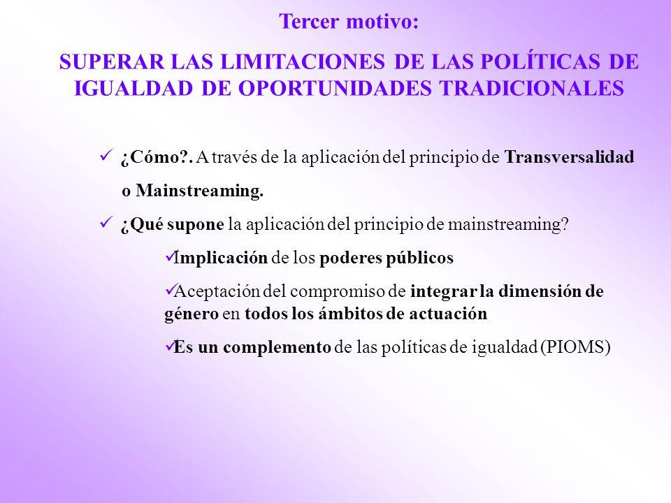 Tercer motivo: SUPERAR LAS LIMITACIONES DE LAS POLÍTICAS DE IGUALDAD DE OPORTUNIDADES TRADICIONALES ¿Cómo?.