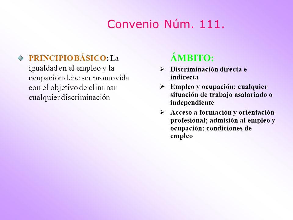Convenio Núm. 111. PRINCIPIO BÁSICO: La igualdad en el empleo y la ocupación debe ser promovida con el objetivo de eliminar cualquier discriminación Á
