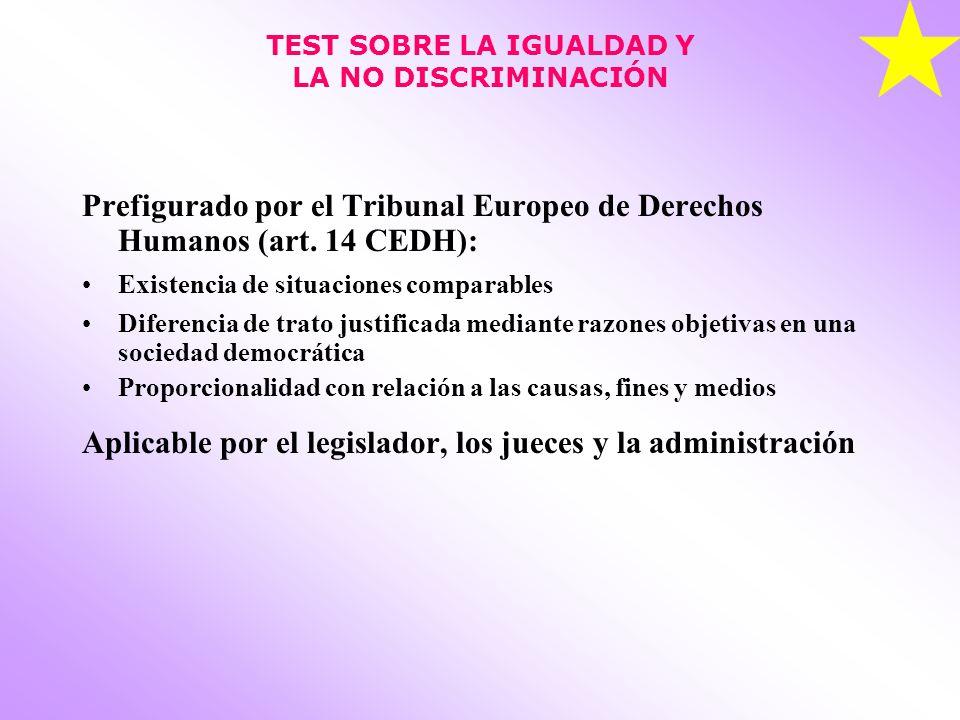 TEST SOBRE LA IGUALDAD Y LA NO DISCRIMINACIÓN Prefigurado por el Tribunal Europeo de Derechos Humanos (art.