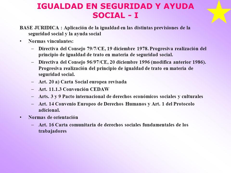 IGUALDAD EN SEGURIDAD Y AYUDA SOCIAL - I BASE JURIDICA : Aplicación de la igualdad en las distintas previsiones de la seguridad social y la ayuda soci