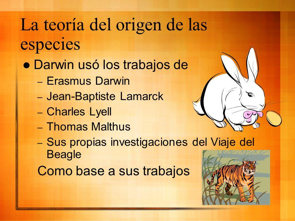 Darwin usó los trabajos de – Erasmus Darwin – Jean-Baptiste Lamarck – Charles Lyell – Thomas Malthus – Sus propias investigaciones del Viaje del Beagl
