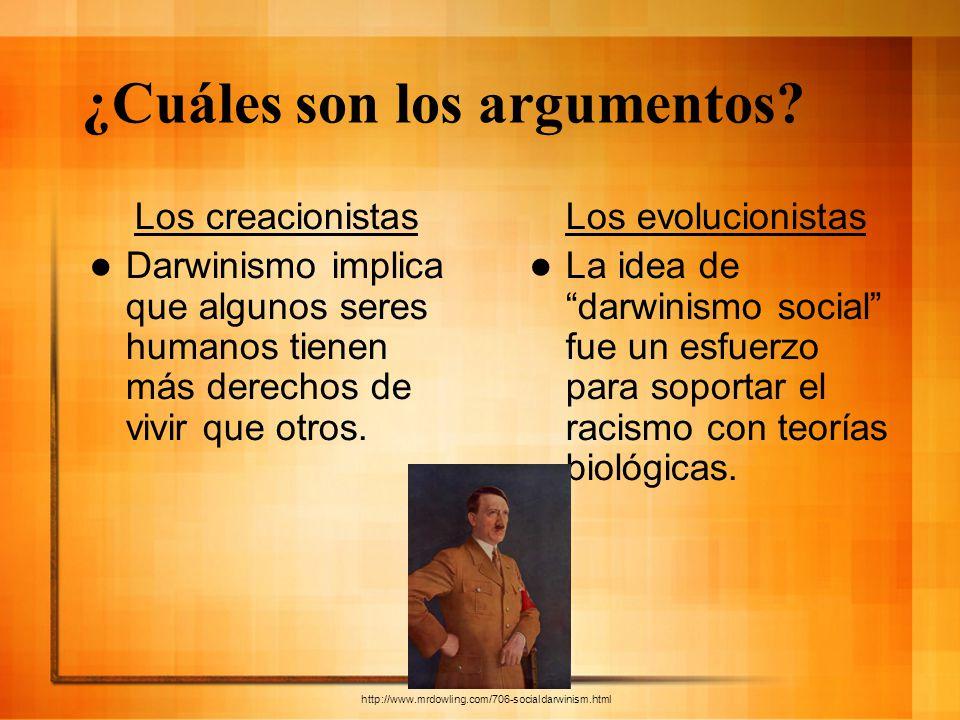 ¿Cuáles son los argumentos? Los creacionistas Darwinismo implica que algunos seres humanos tienen más derechos de vivir que otros. Los evolucionistas