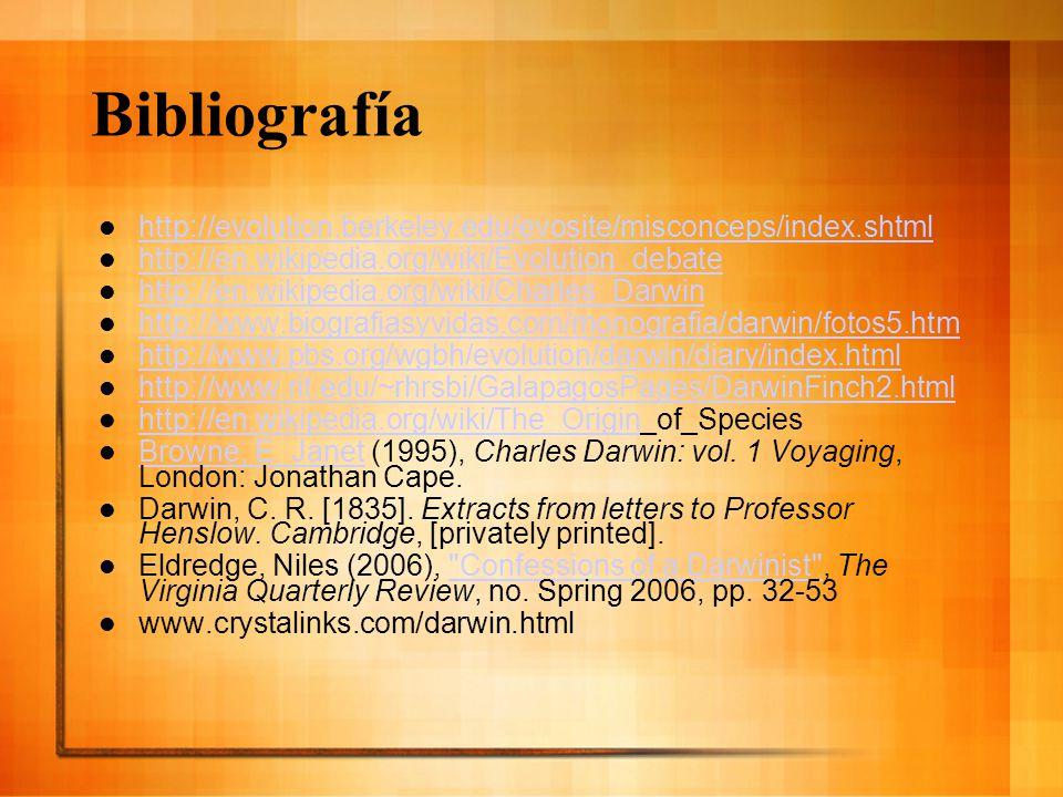 Bibliografía http://evolution.berkeley.edu/evosite/misconceps/index.shtml http://en.wikipedia.org/wiki/Evolution_debate http://en.wikipedia.org/wiki/C