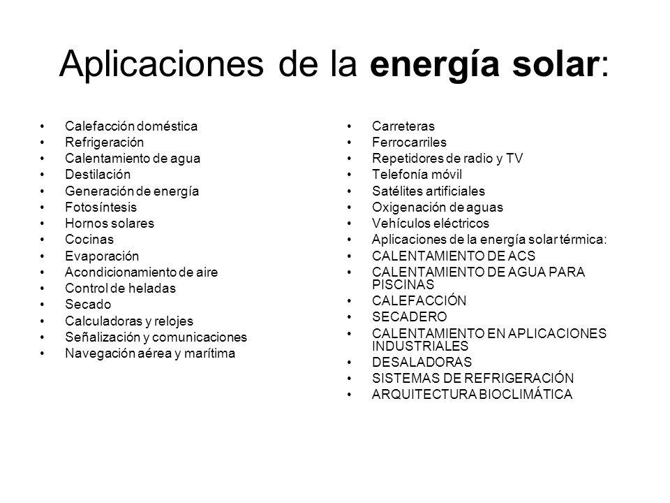 Aplicaciones de la energía solar: Calefacción doméstica Refrigeración Calentamiento de agua Destilación Generación de energía Fotosíntesis Hornos sola