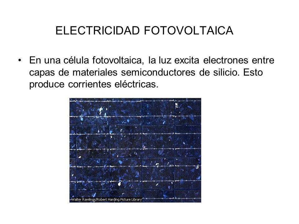 ELECTRICIDAD FOTOVOLTAICA En una célula fotovoltaica, la luz excita electrones entre capas de materiales semiconductores de silicio. Esto produce corr
