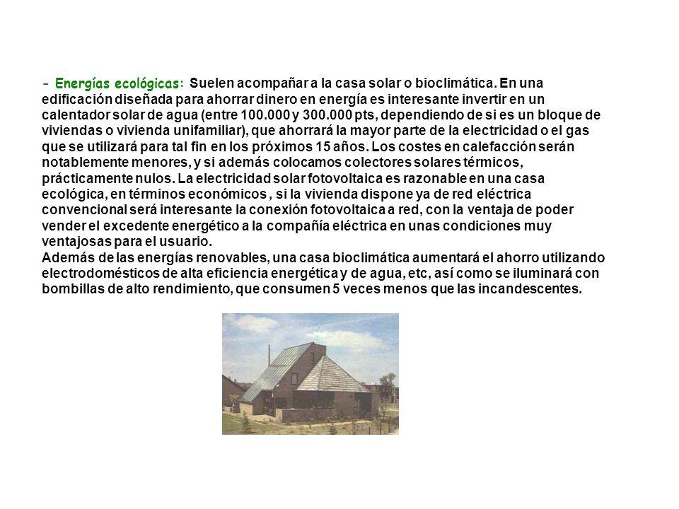 - Energías ecológicas: Suelen acompañar a la casa solar o bioclimática. En una edificación diseñada para ahorrar dinero en energía es interesante inve