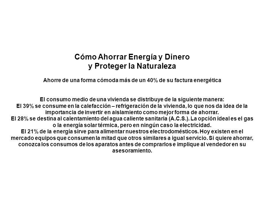 Cómo Ahorrar Energía y Dinero y Proteger la Naturaleza Ahorre de una forma cómoda más de un 40% de su factura energética El consumo medio de una vivie