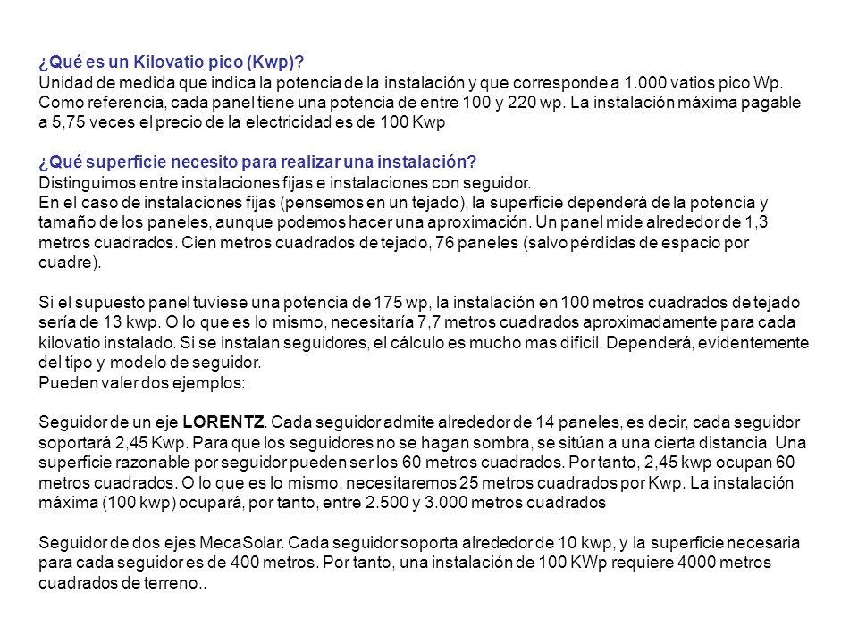 ¿Qué es un Kilovatio pico (Kwp)? Unidad de medida que indica la potencia de la instalación y que corresponde a 1.000 vatios pico Wp. Como referencia,