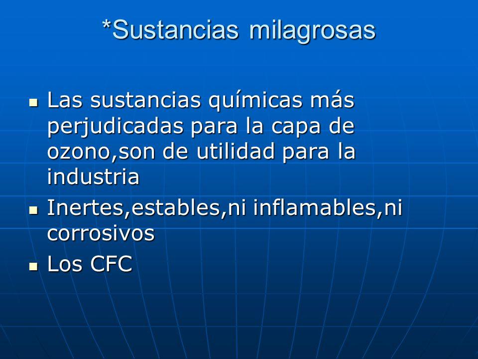 *Sustancias milagrosas Las sustancias químicas más perjudicadas para la capa de ozono,son de utilidad para la industria Las sustancias químicas más perjudicadas para la capa de ozono,son de utilidad para la industria Inertes,estables,ni inflamables,ni corrosivos Inertes,estables,ni inflamables,ni corrosivos Los CFC Los CFC