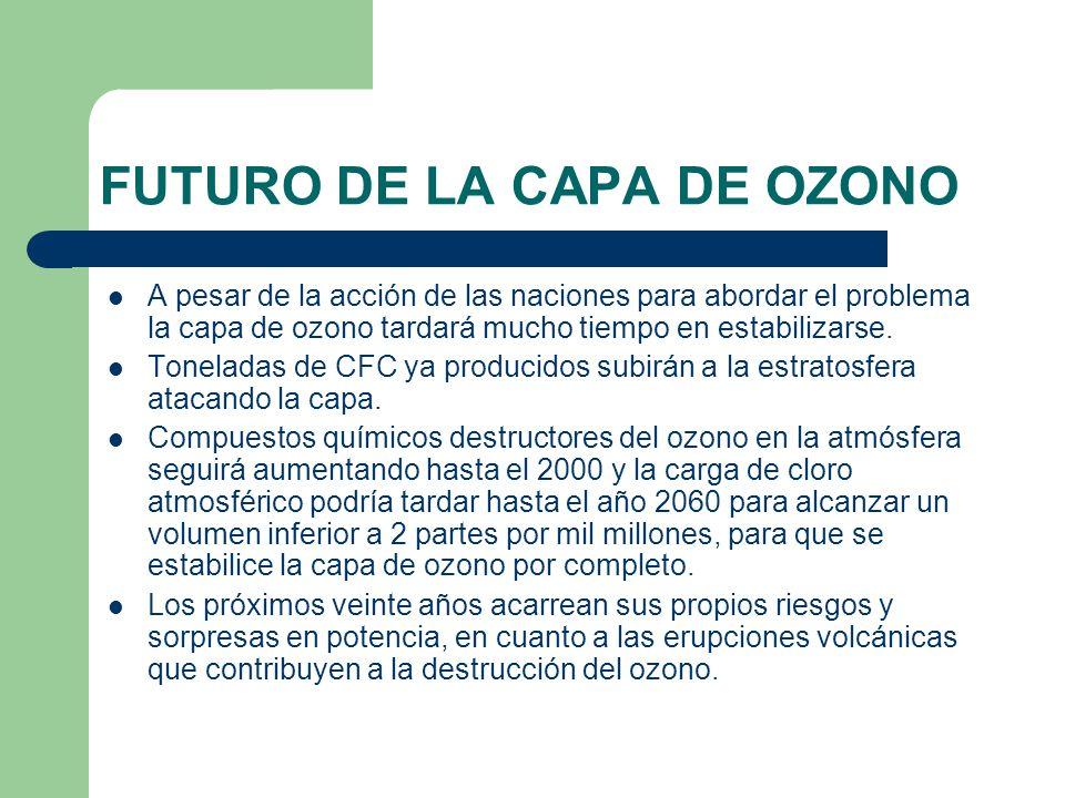 FUTURO DE LA CAPA DE OZONO A pesar de la acción de las naciones para abordar el problema la capa de ozono tardará mucho tiempo en estabilizarse.