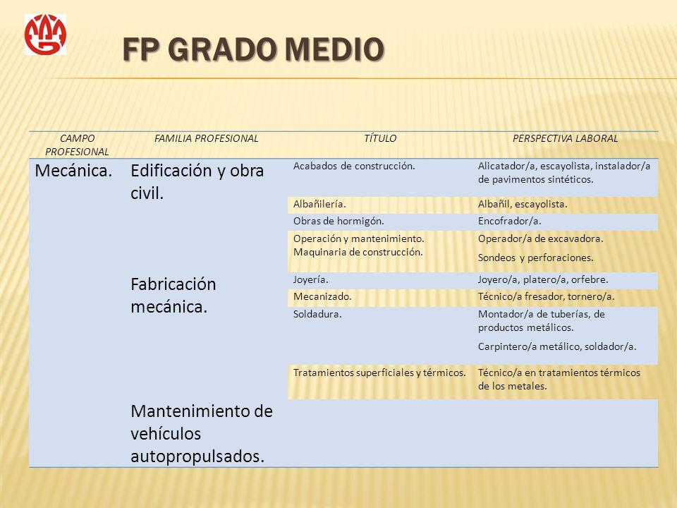 FP GRADO MEDIO CAMPO PROFESIONAL FAMILIA PROFESIONALTÍTULOPERSPECTIVA LABORAL Mecánica.Edificación y obra civil. Acabados de construcción.Alicatador/a