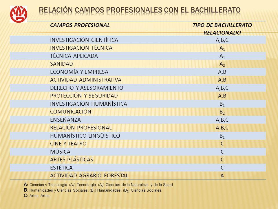 CAMPOS PROFESIONALTIPO DE BACHILLERATO RELACIONADO INVESTIGACIÓN CIENTÍFICAA,B,C INVESTIGACIÓN TÉCNICAA1A1 TÉCNICA APLICADAA1A1 SANIDADA2A2 ECONOMÍA Y