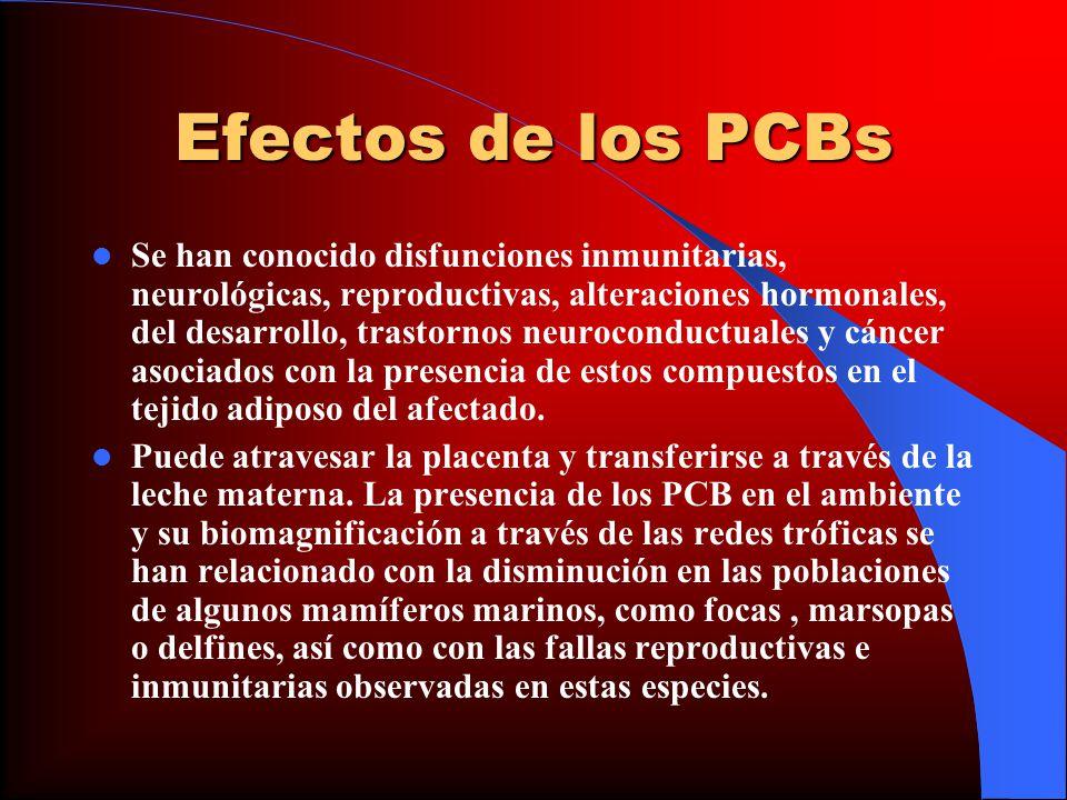 Efectos de los PCBs Se han conocido disfunciones inmunitarias, neurológicas, reproductivas, alteraciones hormonales, del desarrollo, trastornos neuroc