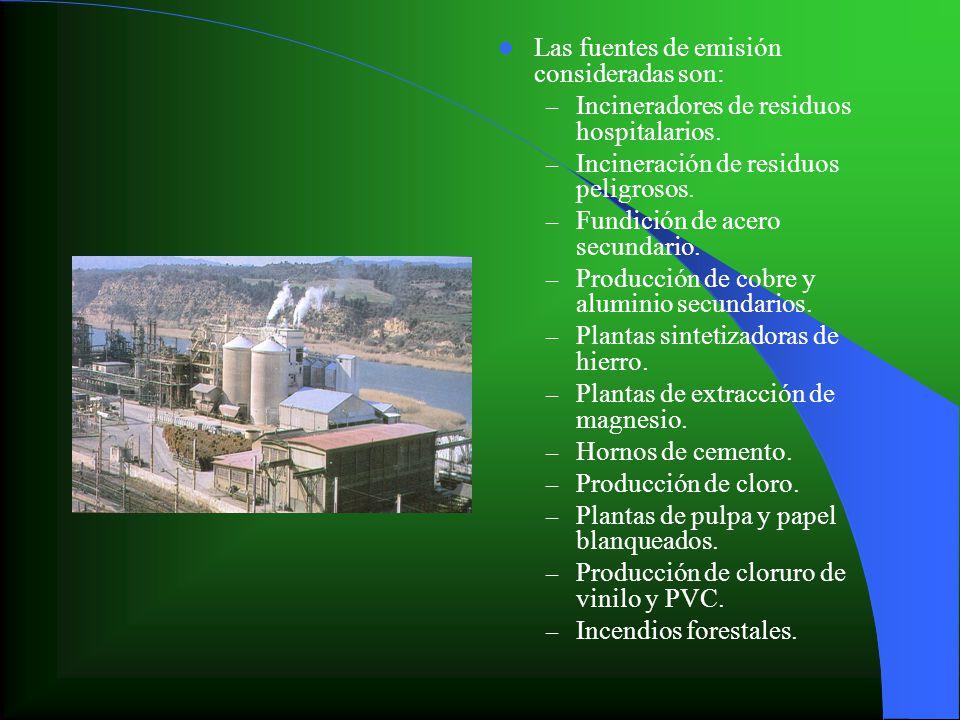 Las fuentes de emisión consideradas son: – Incineradores de residuos hospitalarios. – Incineración de residuos peligrosos. – Fundición de acero secund