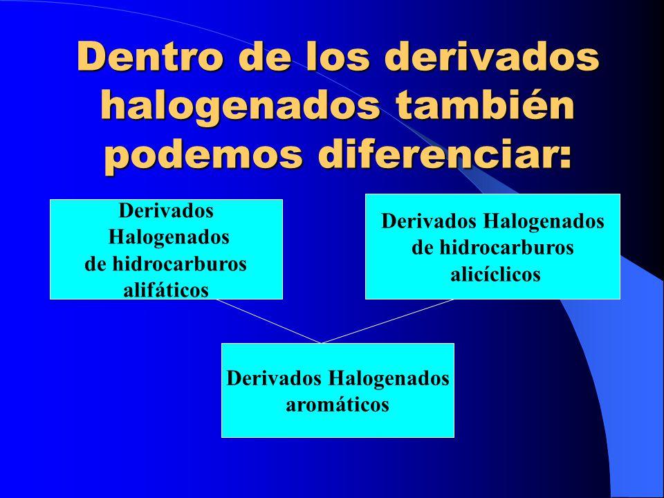 Dentro de los derivados halogenados también podemos diferenciar: Derivados Halogenados de hidrocarburos alifáticos Derivados Halogenados de hidrocarbu