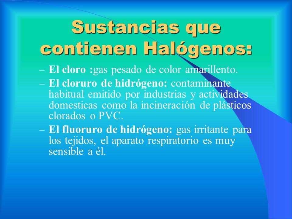 Sustancias que contienen Halógenos: – El cloro :gas pesado de color amarillento. – El cloruro de hidrógeno: contaminante habitual emitido por industri