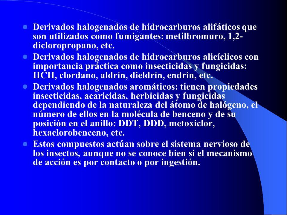 Derivados halogenados de hidrocarburos alifáticos que son utilizados como fumigantes: metilbromuro, 1,2- dicloropropano, etc. Derivados halogenados de