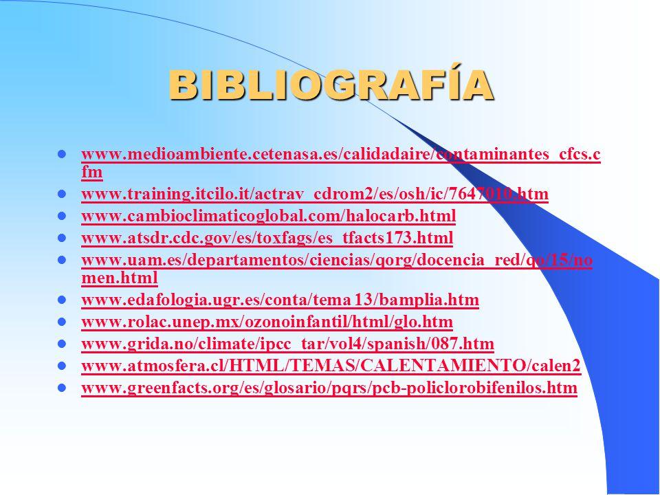 BIBLIOGRAFÍA www.medioambiente.cetenasa.es/calidadaire/contaminantes_cfcs.c fm www.medioambiente.cetenasa.es/calidadaire/contaminantes_cfcs.c fm www.t