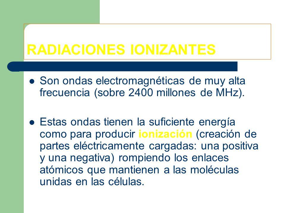 RADIACIONES IONIZANTES Son ondas electromagnéticas de muy alta frecuencia (sobre 2400 millones de MHz).
