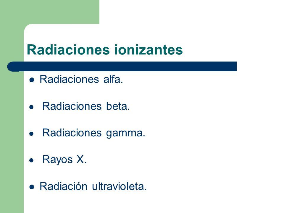 Radiaciones ionizantes Radiaciones alfa. Radiaciones beta.