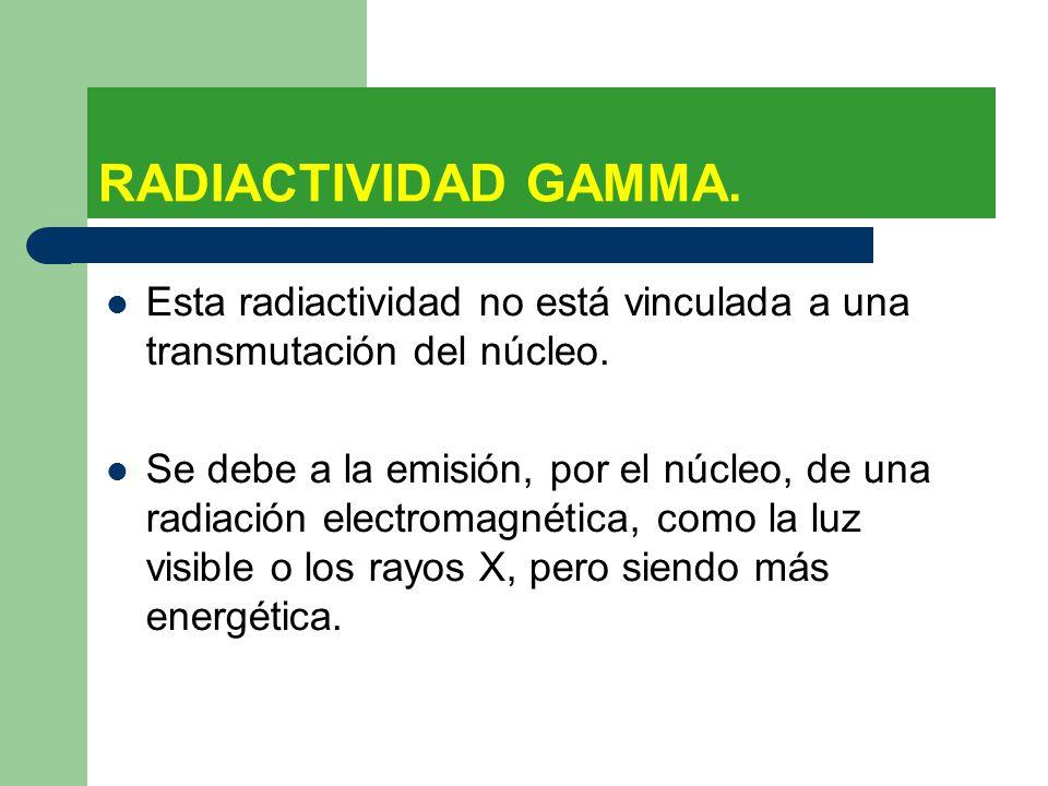 RADIACTIVIDAD GAMMA. Esta radiactividad no está vinculada a una transmutación del núcleo.
