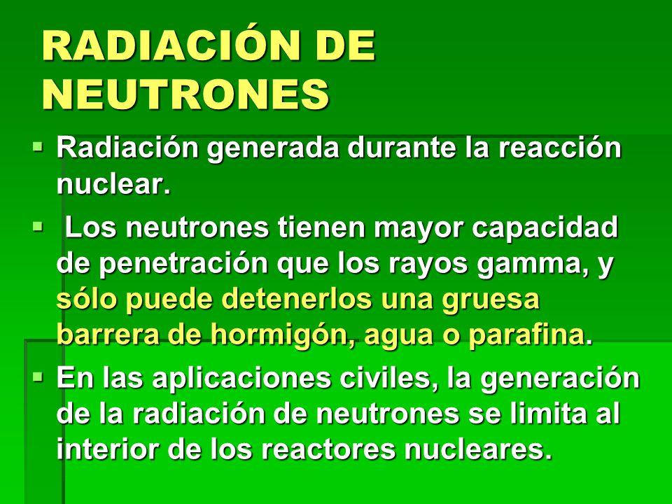 RADIACIÓN DE NEUTRONES Radiación generada durante la reacción nuclear.