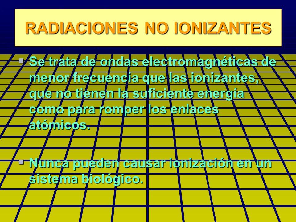 RADIACIONES NO IONIZANTES Se trata de ondas electromagnéticas de menor frecuencia que las ionizantes, que no tienen la suficiente energía como para romper los enlaces atómicos.