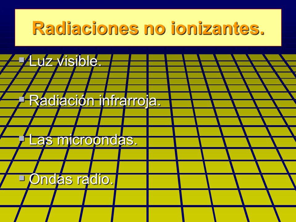 Radiaciones no ionizantes. Luz visible. Luz visible.