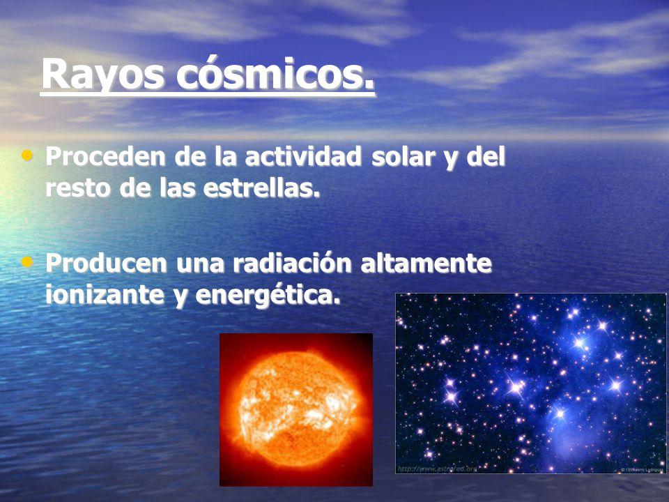 Rayos cósmicos. Proceden de la actividad solar y del resto de las estrellas.