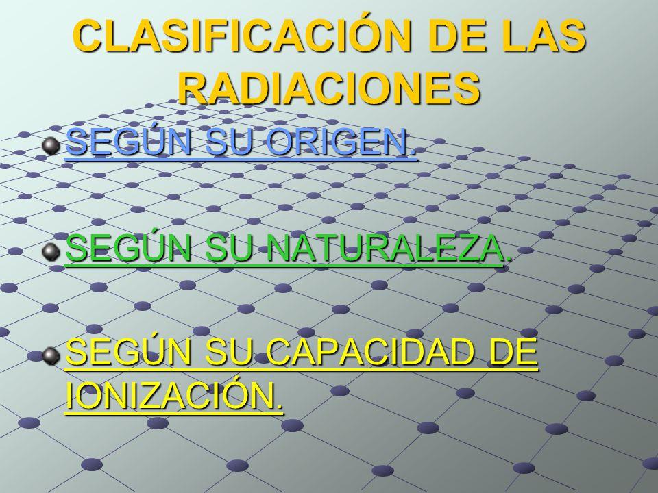 CLASIFICACIÓN DE LAS RADIACIONES SEGÚN SU ORIGEN. SEGÚN SU NATURALEZA.