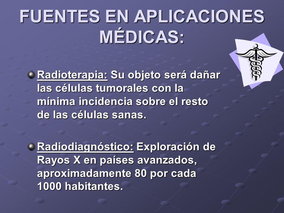 FUENTES EN APLICACIONES MÉDICAS: Radioterapia: Su objeto será dañar las células tumorales con la mínima incidencia sobre el resto de las células sanas.