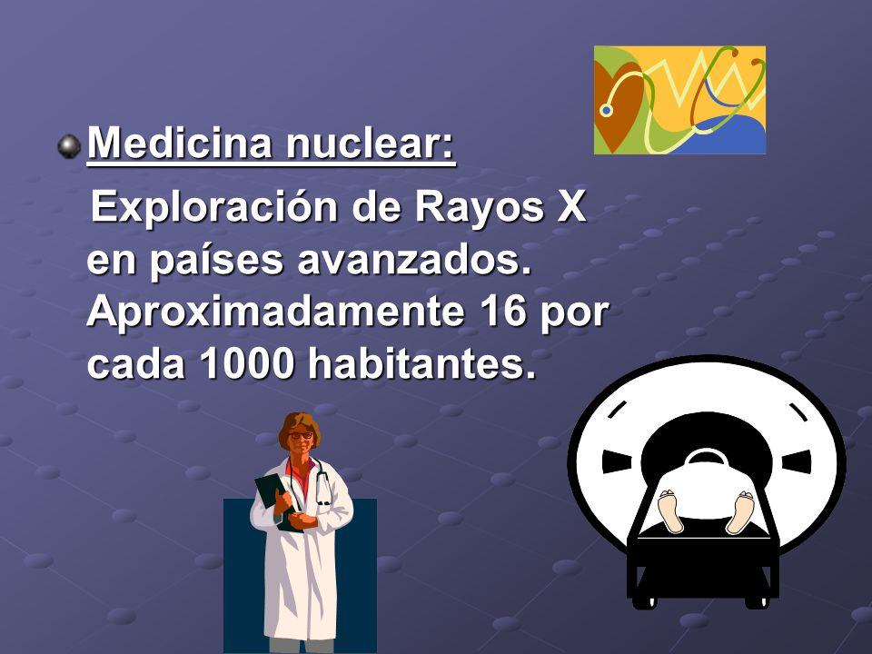 Medicina nuclear: Exploración de Rayos X en países avanzados.