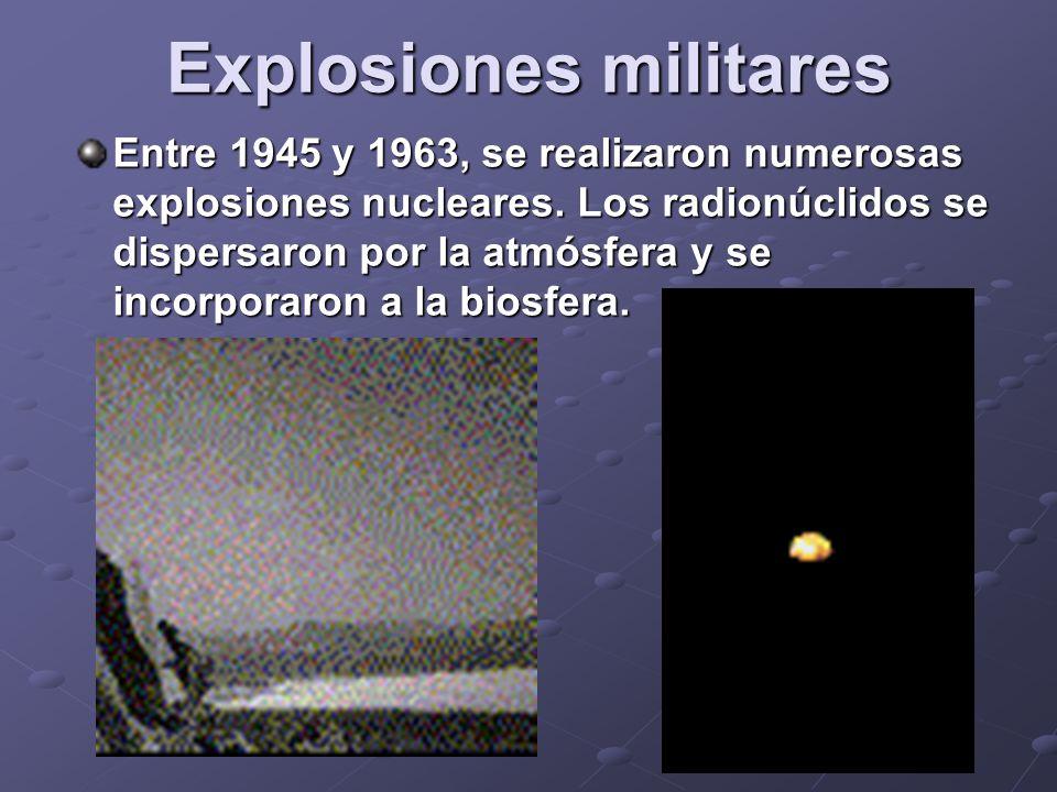 Explosiones militares Entre 1945 y 1963, se realizaron numerosas explosiones nucleares.