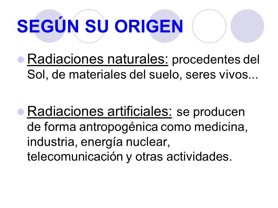 SEGÚN SU ORIGEN Radiaciones naturales: procedentes del Sol, de materiales del suelo, seres vivos...