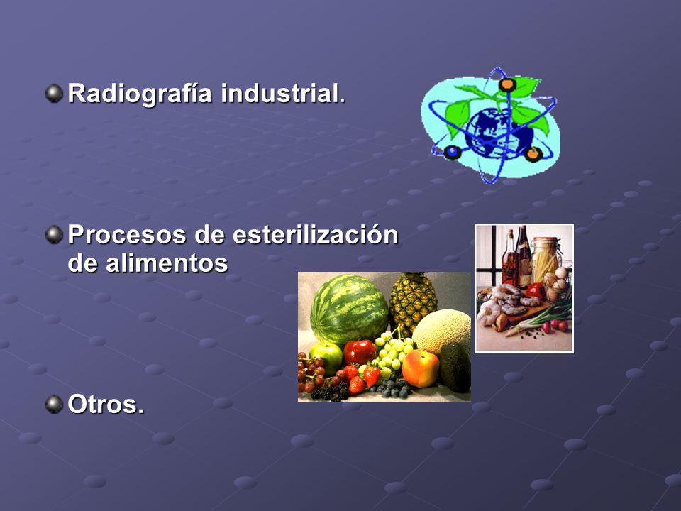 Radiografía industrial. Procesos de esterilización de alimentos Otros.
