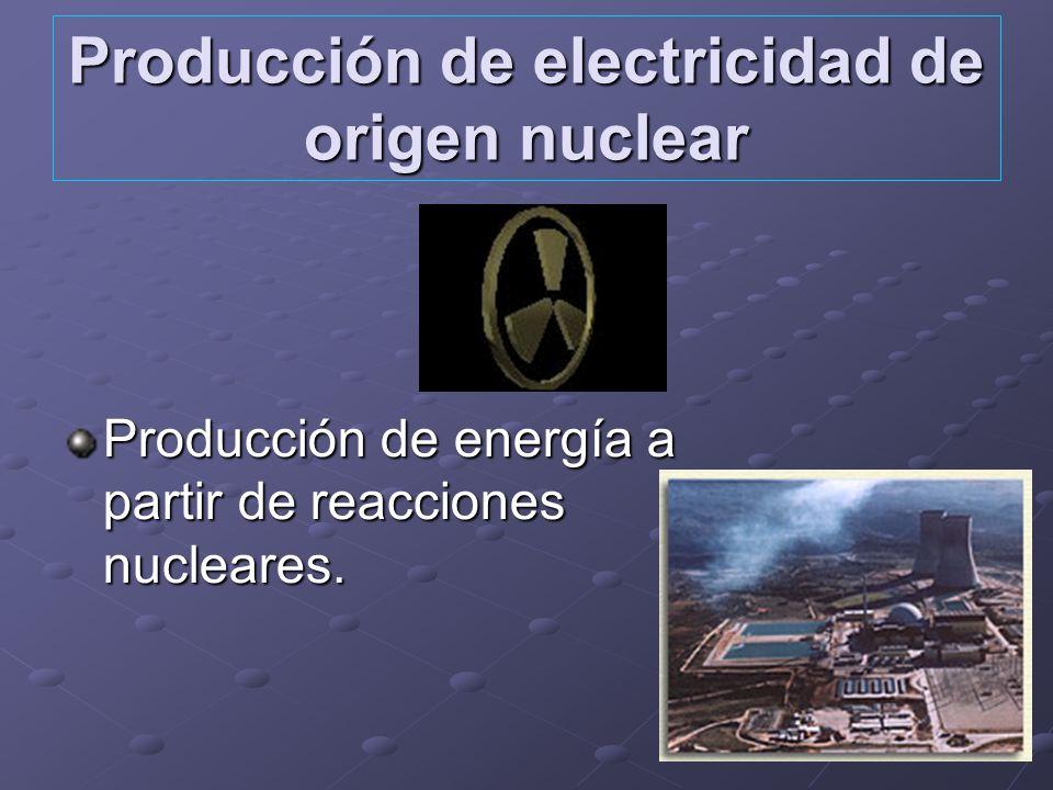 Producción de electricidad de origen nuclear Producción de energía a partir de reacciones nucleares.