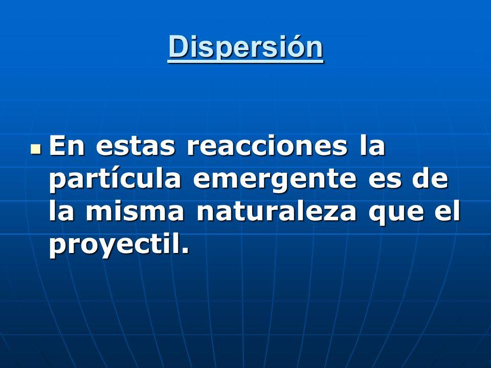 Dispersión En estas reacciones la partícula emergente es de la misma naturaleza que el proyectil.