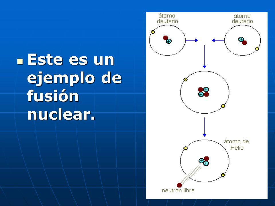 Este es un ejemplo de fusión nuclear. Este es un ejemplo de fusión nuclear.