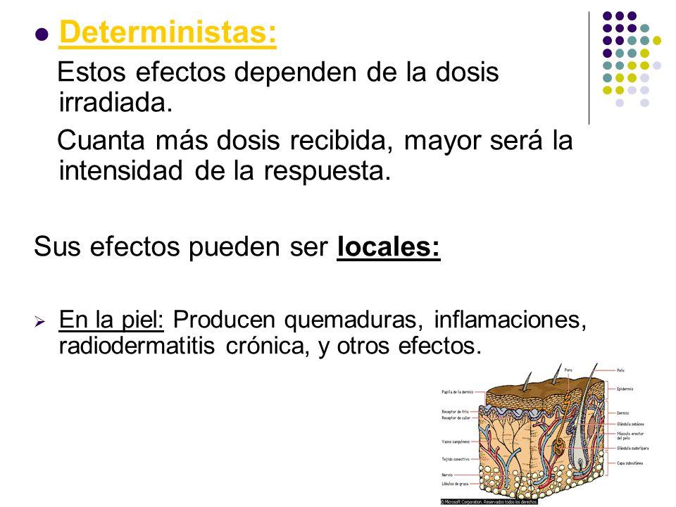 Deterministas: Estos efectos dependen de la dosis irradiada.