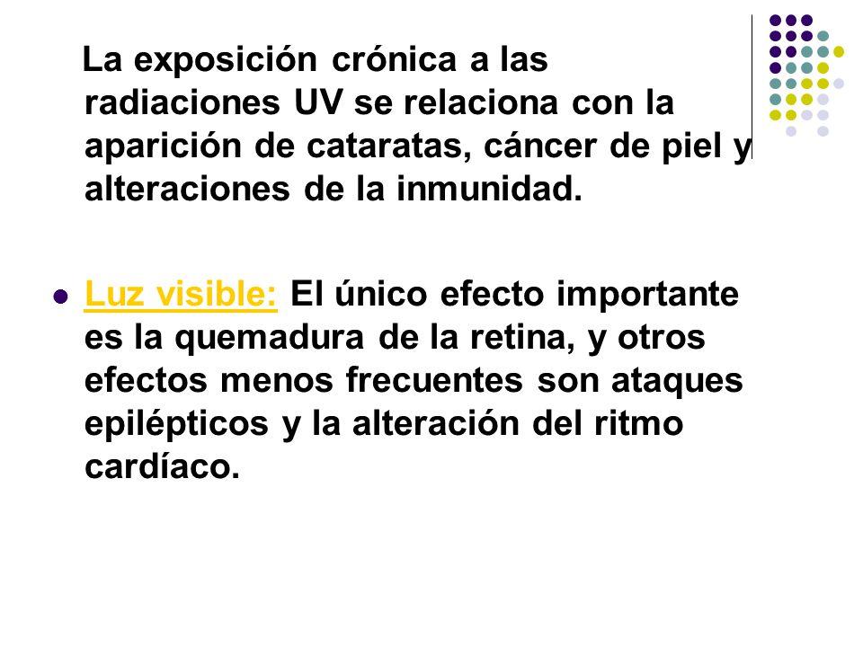 La exposición crónica a las radiaciones UV se relaciona con la aparición de cataratas, cáncer de piel y alteraciones de la inmunidad.