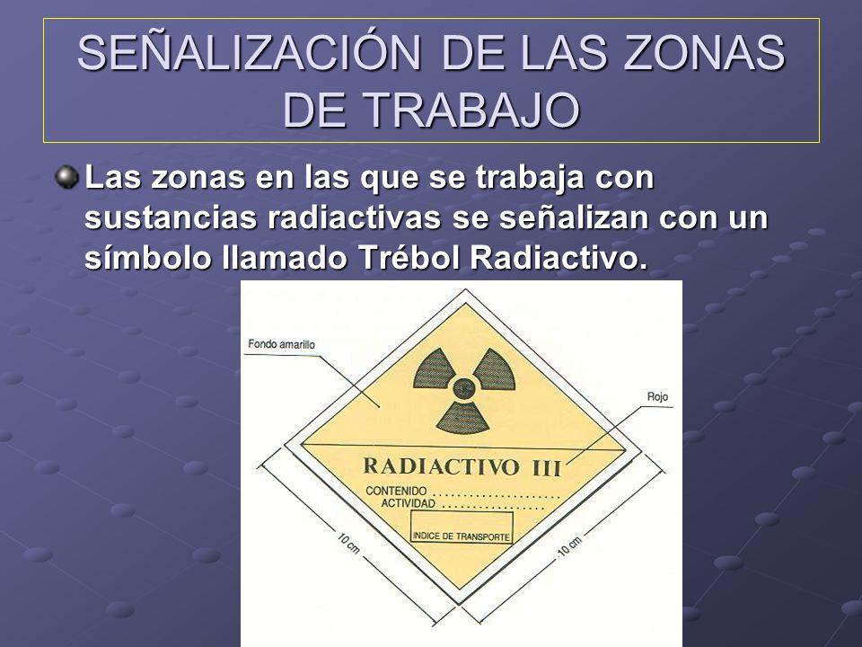 SEÑALIZACIÓN DE LAS ZONAS DE TRABAJO Las zonas en las que se trabaja con sustancias radiactivas se señalizan con un símbolo llamado Trébol Radiactivo.