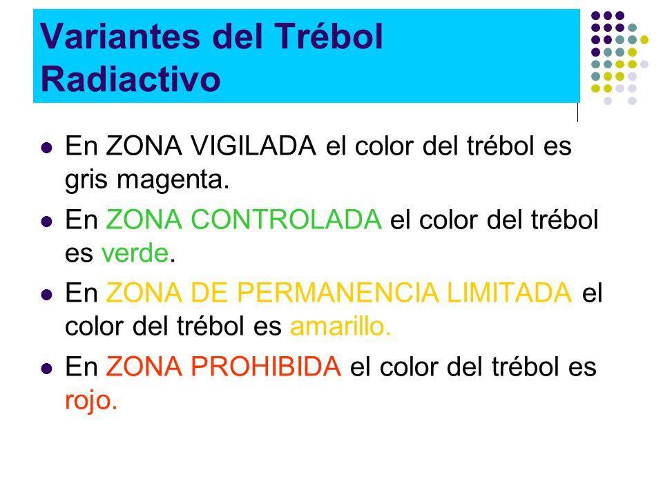 Variantes del Trébol Radiactivo En ZONA VIGILADA el color del trébol es gris magenta.