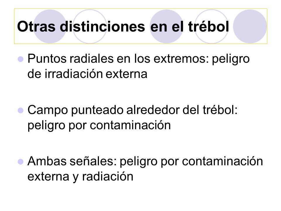 Otras distinciones en el trébol Puntos radiales en los extremos: peligro de irradiación externa Campo punteado alrededor del trébol: peligro por contaminación Ambas señales: peligro por contaminación externa y radiación