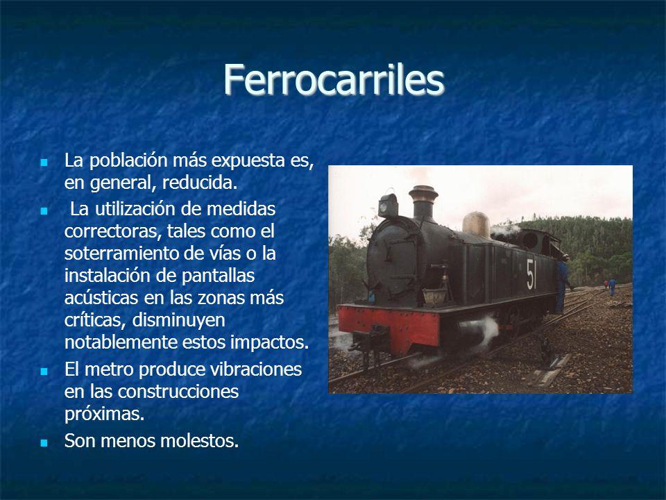 Ferrocarriles La población más expuesta es, en general, reducida.