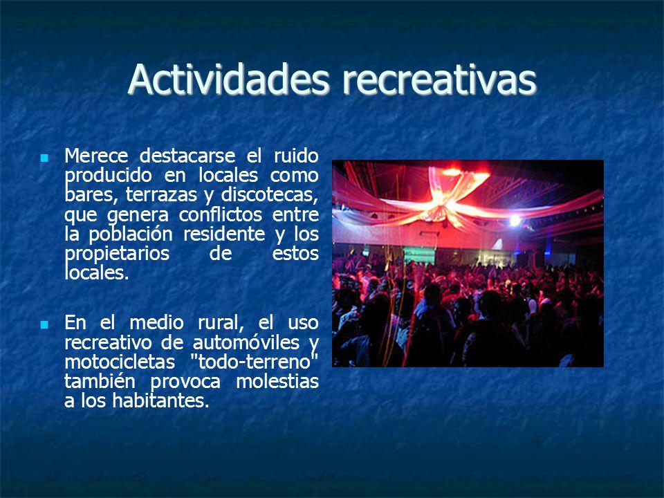 Actividades recreativas Merece destacarse el ruido producido en locales como bares, terrazas y discotecas, que genera conflictos entre la población residente y los propietarios de estos locales.