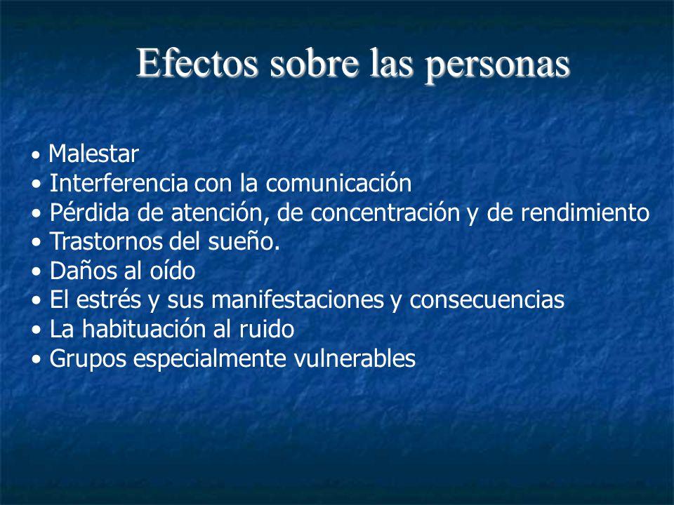 Efectos sobre las personas Malestar Interferencia con la comunicación Pérdida de atención, de concentración y de rendimiento Trastornos del sueño.